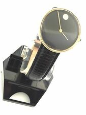 MOVADO MUSEUM 18KT GOLD TONE UN-SEX LEATHER BAND USED ,QUARTZ,2 YEARS WARRANTY