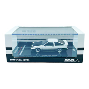 INNO64 1/64 Toyota Sprinter Trueno AE86 White Black with Extra Wheels Japan Spec