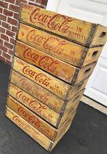 8 Vintage 1960's Yellow Coca Cola Coke Wood Soda Pop Crates 24 Dividers Lot