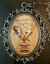 Martini Pin Up Girl & Skull Silver Pendant Necklace *Tattoo*Sailor Jerry*1950s