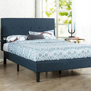 Zinus Blue Fabric Bed Frame QUEEN DOUBLE KING SINGLE Size Base Mattress Wooden