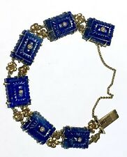 Auth antique 71.58TCW 22k to 18k gold Chinese Lapis Lazuli carved bracelet