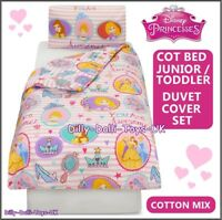 Disney Princess Junior Bed Cot Duvet Cover Set Cotton Mix Cinderella Belle NEW