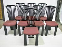 Set of 8 1970s Signed Pietro Constantini Black Lacquer Dining Chairs