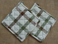 Set of 2 Park Designs NATURE'S PATH Potholders - Cream, Brown, Green Plaid