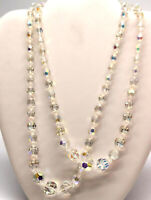 Vintage Double Strand Aurora Borealis Chrystal Necklace Graduated Golden Clasp