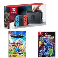 BUNDLE / Nintendo Switch 32GB Neon Red Neon Blue Joy-Con & 2 GAMES / ALL NEW