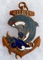 Insigne 21° RIC 1939 Marsouin gris bleu Rgt Infanterie Coloniale ORIGINAL D.BER.