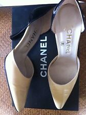 CHANEL beige black patent Leather Pumps Shoes in Box