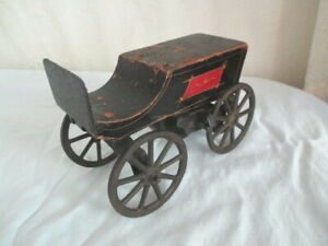 Vintage HILLCLIMBER? TOY WAGON *Cast Iron Wheels *Wood Body