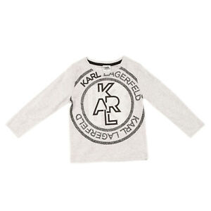 KARL LAGERFELD KIDS T-Shirt Top Size 4Y / 102CM Melange Coated Logo Long Sleeve