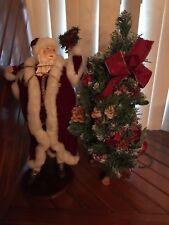 Lot Set 2 Pcs Christmas Around The World Victorian Santa & Tree Figurines *;