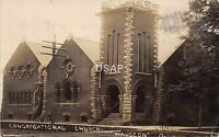 Ohio Postcard Real Photo RPPC 1907 WAUSEON Congregational Church Building