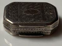 Miniature 1813 Antique Georgian Solid Silver Vinaigrette & Sponge Birmingham