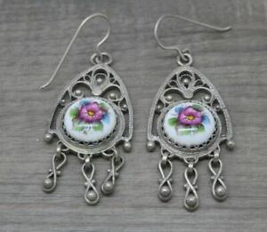 Beautiful Silver Plated Filigree Design Porcelain Flower Drop Earrings