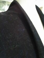 4yds FABULOUS BLACK WOOL TWEED BLUE GREEN EYELASH COUTURE CHIC FRENCH STYLE