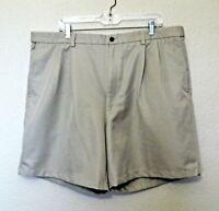 Haggar Khaki Dress Shorts 42 Tan Inseam 7.5 Pleated Front 100% Polyester
