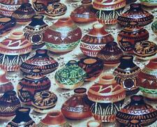 YD ~ CLAY JARS Novelty Pottery 100% Cotton FABRIC ~ Quilting BTY