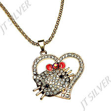 Large Rose Gold Hello Kitty Heart Red Bow CZ Stones Alloy Pendant Chain Necklace