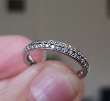 Tests as 18ct White Gold 2 Row Diamond Full Eternity Ring N - not sizeable