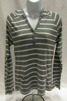 Women's Medium Gray and White Striped Old Navy Long Sleeve Hooded Top