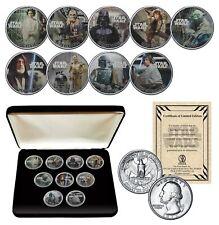 STAR WARS Genuine 1977 Washington Quarter 9-Coin Set w/BOX - OFFICIALLY LICENSED
