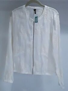 Maurices Womens size M sheer ivory embroidered zippered jacket. New with tags