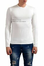 Gianfranco Ferre White Graphic Long Sleeve Stretch Men's T-Shirt Sz XS S M L XL