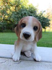 Beagle Dog Sitting Resin Figurine Garden Home Decor New Gift Brown White Pet Pal