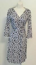 Diane von Furstenberg New Julian two Sheep silk wrap dress 10 black white DVF