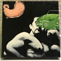 Contemporary Modern Painting Stomach Muscle Man Car Enamel on Canvas Dixon 2005