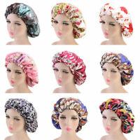 Satin Night Sleep Cap Hair Bonnet Hat Silk Head Cover Women Elastic Band Cap New