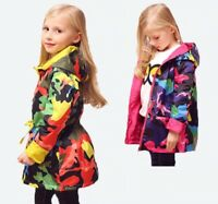 Waterproof Trench Coat Windbreaker Kid Girls Hooded Jacket Outwear Camouflage
