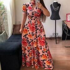 Vestido longo Vestido de verão floral Maxi coquetel noite festa feminino Boho Praia Verão
