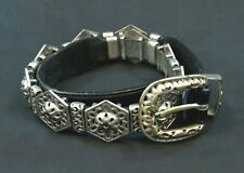 Women's Brighton Black Leather Silver Tone Small Concho Belt Sz S 1995 39503