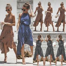 Women's Polka-dot Deep V-neck Ruffles Short Wrap Dress Summer Boho Sundress 6-20