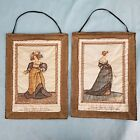 Vintage Silk German Tapestries of 16th Century Clothes Gold Thread & Ribbon