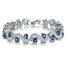 18K WHITE GOLD PLATED & SAPPHIRE BLUE & CLEAR CUBIC ZIRCONIA TENNIS  BRACELET