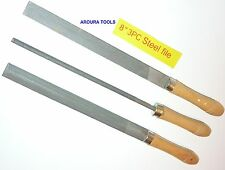 "FILES FOR STEEL 3pc SET- 8"" LONG ( FLAT, ROUND & HALF MOON ) WOOD HANDLE - NEW"