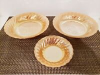 VTG Anchor Hocking Peach Lustre Swirl Glass 2 Serving Bowls and Berry Bowl