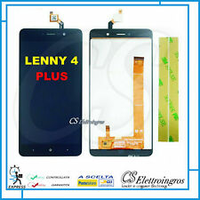 "Touch screen + Display Lcd per WIKO LENNY 4 PLUS 5,5"" assemblato nero + biadesiv"