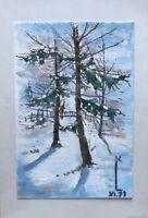 Aquarell Winterlandschaft mit Bäumen Studie Skizze Freiluft Pleinair Mono KL