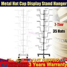 Tier Metal Hat Cap Rack Hanger Display Stand Rotating w/ 4 Wheel white & black