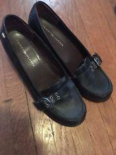 Tommy Hilfiger 7.5 Black Leather Loafer 90s Chunky Platform Heels W/ Buckle