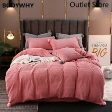 Thick Fleece Fabric Bedding Set Velvet Flannel Duvet Cover Bed Sheet/Linen
