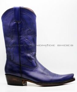 Handmade Men's Boots Blue Leather Farefoot Stitching Texas Legacy Cowboy Boots