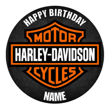 Harley Davidson Personalised Edible Birthday Party Cake Decoration Topper Image