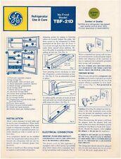 Vintage Ge Refrigerator Use & Care Manual, Model Tbf-21D (1970s)