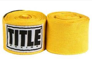 """Title Boxing 180"""" Semi Elastic Mexican Handwraps - Gold"""