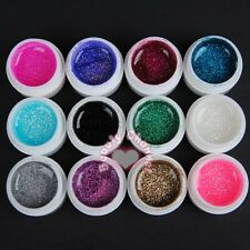12PCS Glitter Mix Color UV Gel Acrylic Builder Set for Nail Art Tips Kit